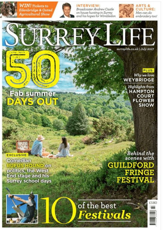 Front cover in Surrey Life Magazine - A Fab Summer Days in grass cloud trees