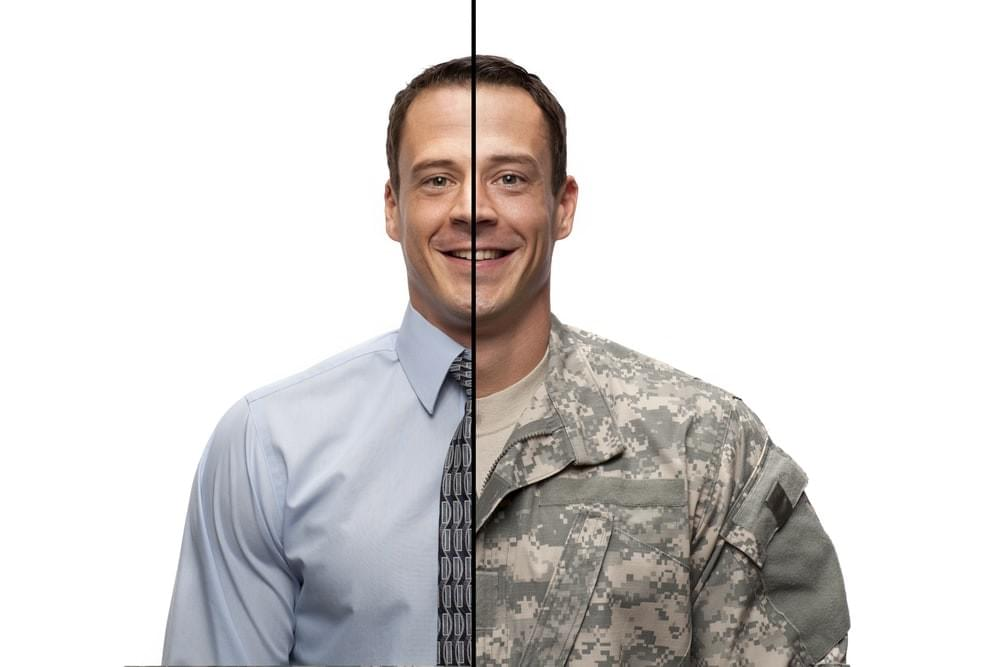 Individual divided in military and civilian attire