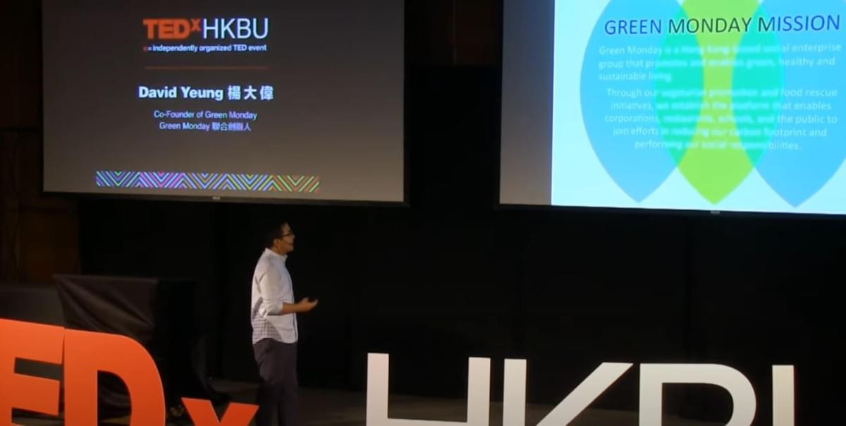 David Yeung during a TEDx Talk in 2014 presenting the mission of Green Monday and the threats of animal agriculture to our environment