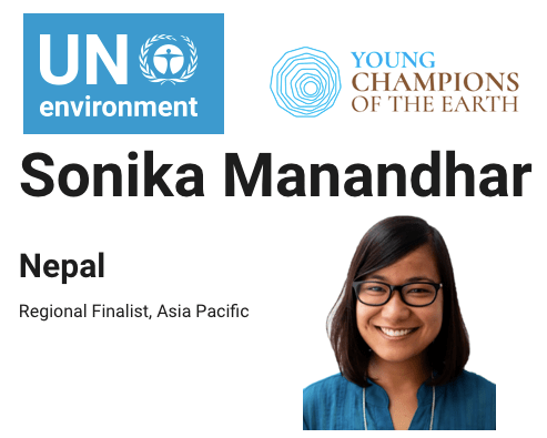 Regional Finalist for the UN Environment, Young Champions of the Earth 2019 Asia and Pacific Region