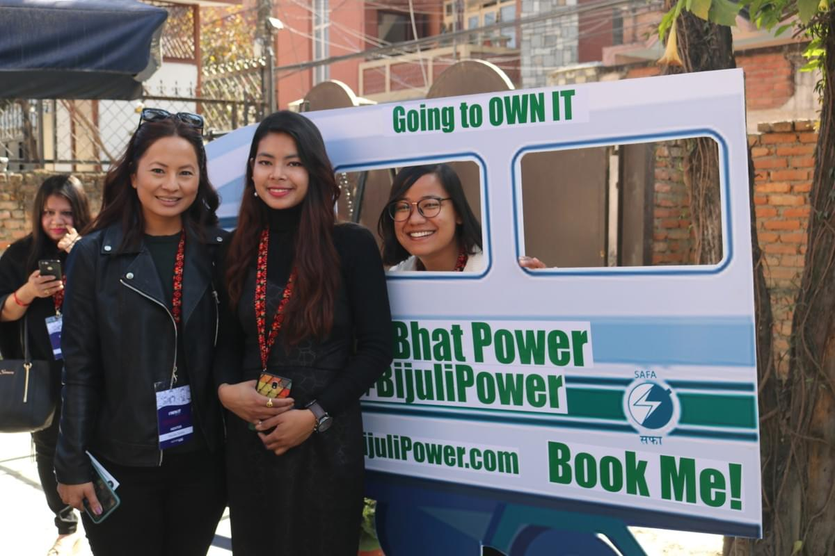 Malika Subba with BijuliPower booth at OWN IT conference