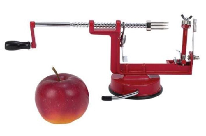 This is the type of apple peeler we use.  It spins the apple around and removes the core as well!