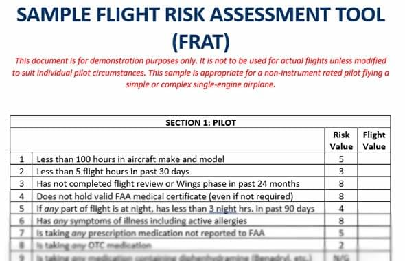 Sample Flight Risk Assessment Tool (FRAT)