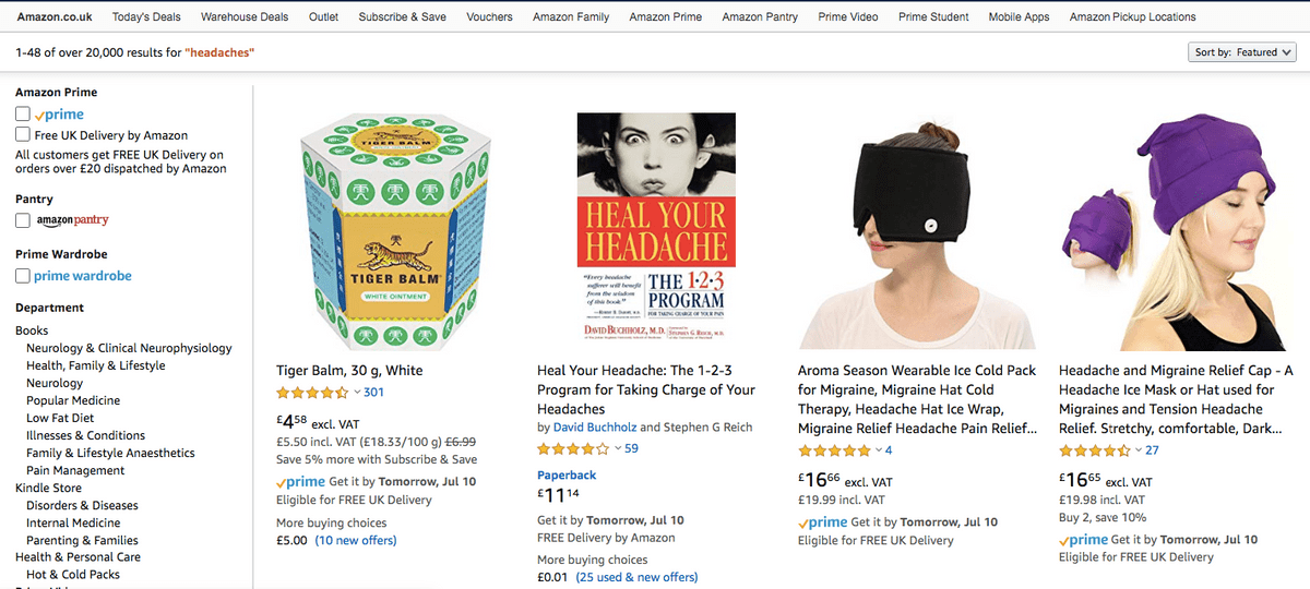 Amazon Search Results For Headaches Phrase
