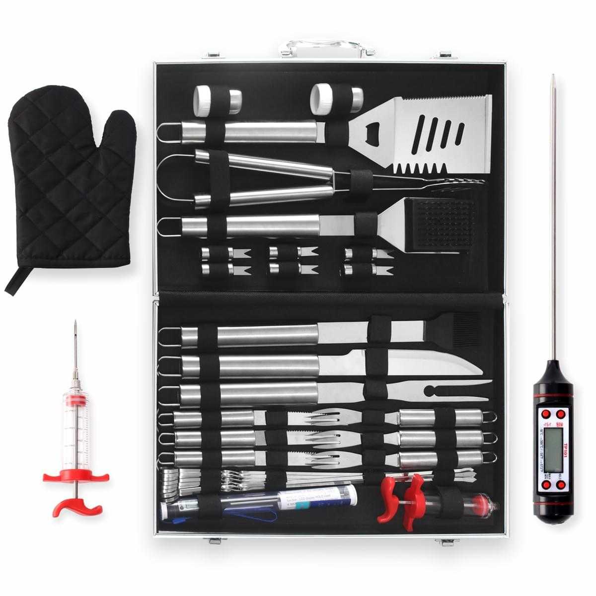 SENDAIST Heavy Duty Stainless Steel BBQ Tools Professional Grilling Accessories, 32 Piece Grilling Utensil Set