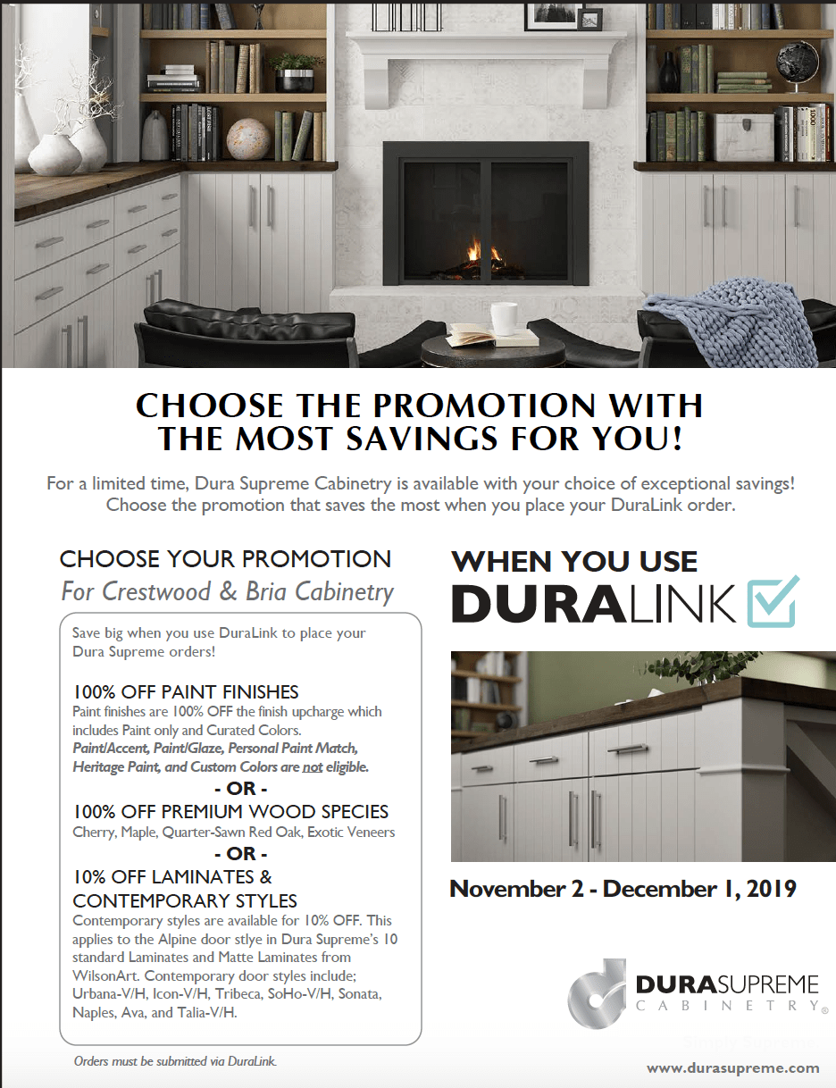 50% off finished, dura supreme cabinets.  Cabinet sale.