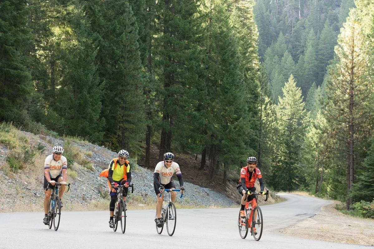 Rich Rifkin, second from the right in the Davis Bike Club jersey, was climbing Mount Etna in Siskiyou County. That day the group rode 117 miles to the coast, climbing over 11,000 feet along the way.