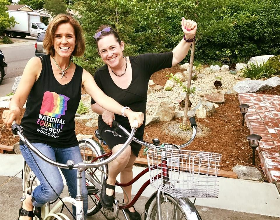 Davis school teachers Mele Echiburu and Jenn Wolfe inspire each other to commute to school via bike.