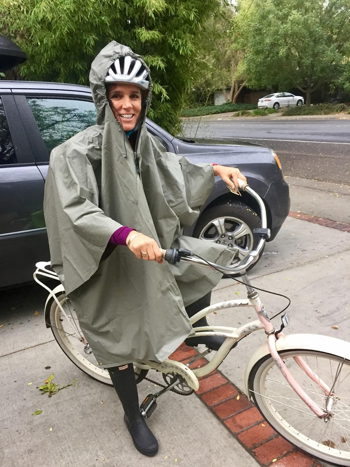 Mele Echiburu commutes to work on bicycle, rain or shine, to Ralph Waldo Emerson Junior High in Davis, CA.