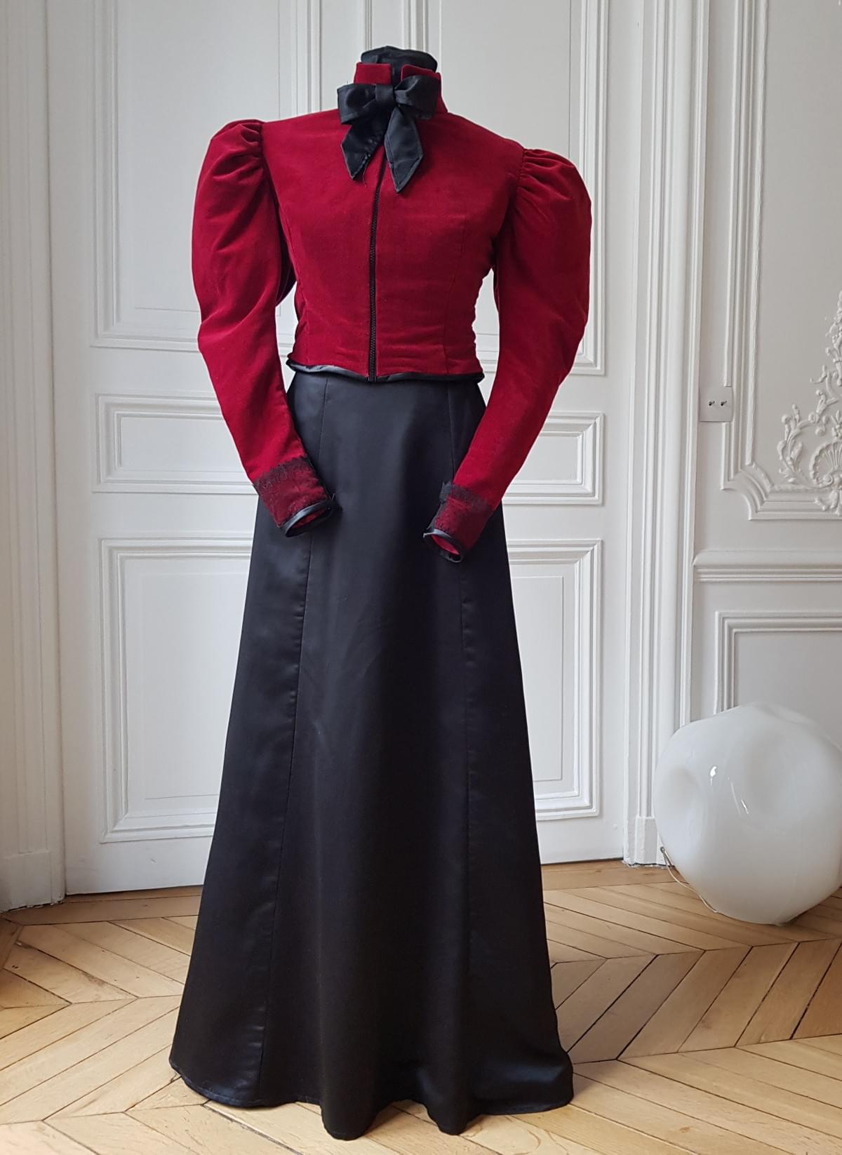 Boname-Paris-Ensemble-Cléo-Veste-velours-et-jupe-satin