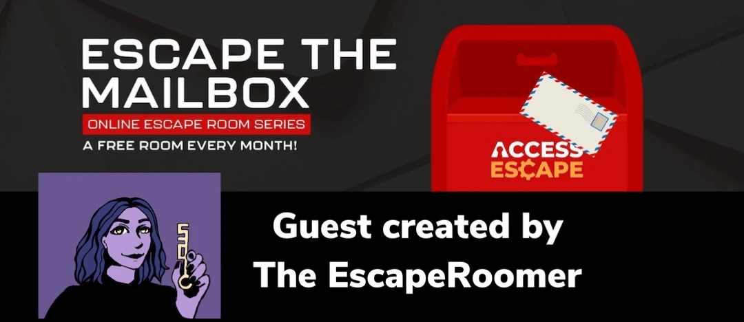 The Escape The Mailbox logo which has a red American style postbox on the right hand side. Underneath on the lefthand side is The Escape Roomers logo, next to the logo it readS: Guest created by The Escape Roomer.