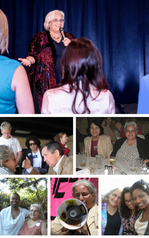 Photo Collage with images of Emily speaking on stage, interviewing Rep. Dennis Kucinich, with labor leader Dolores Huerta, with Green Party Presidential Candidate Cynthia McKinney, speaking at rally, and with her daughters.