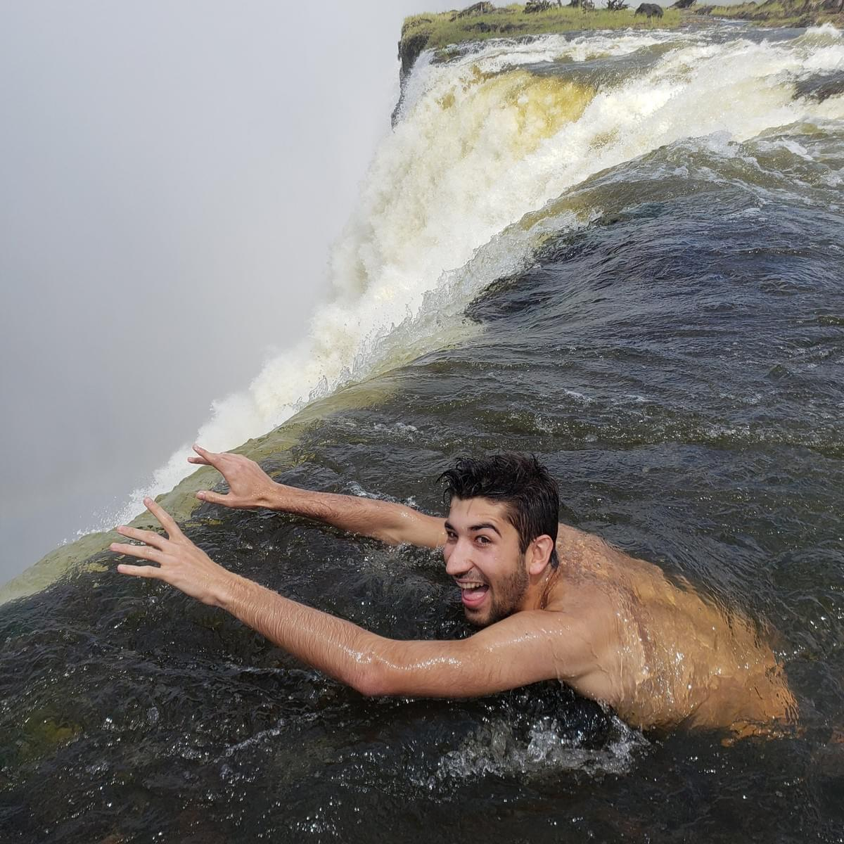 Swimming in the Devil's pool Victoria Falls