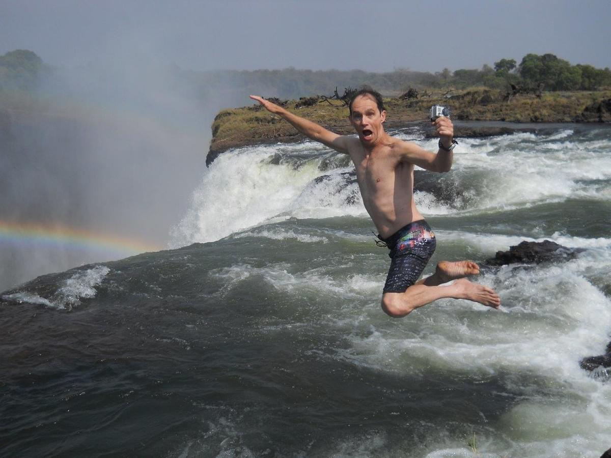 Jumping into the Devils Pool, Livingstone, Zambia.