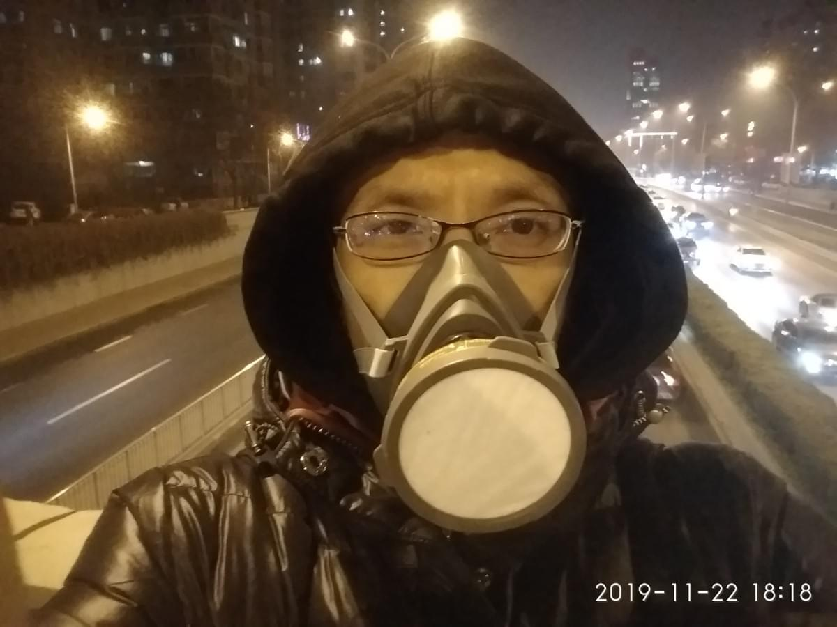Air pollution day in Beijing, I had to wear this professional gas mask.