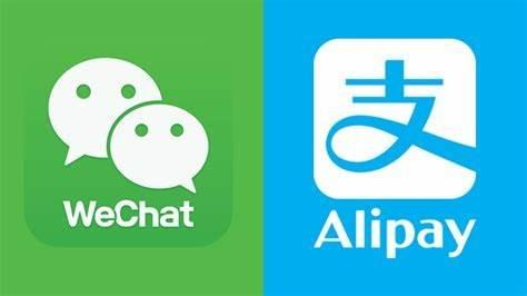 Wechat's logo and Alipay logo. China's biggest 2 smartphone payment tools