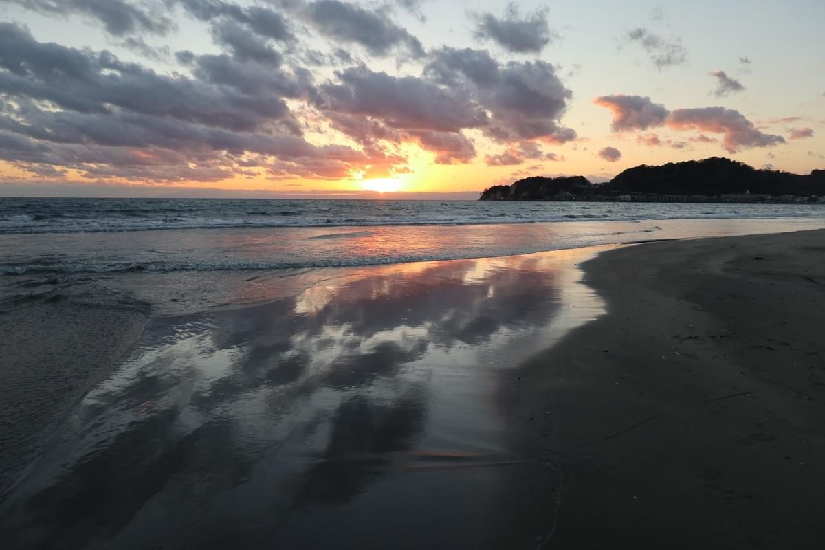 Sunset at Zaimokuza Beach, Kamakura, Japan