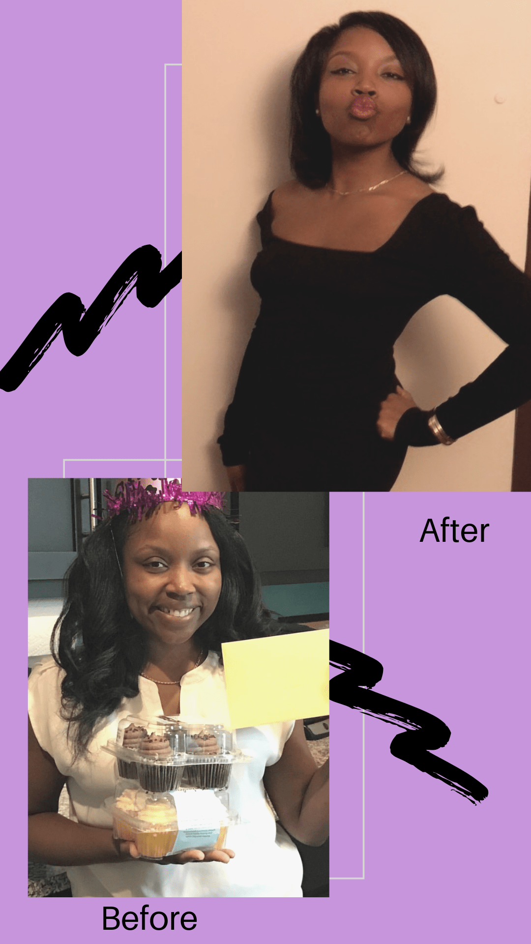 The before and after pictures of a woman that does to keto or ketogenic diet. It's a lifestyle change and a great way to lose weight.