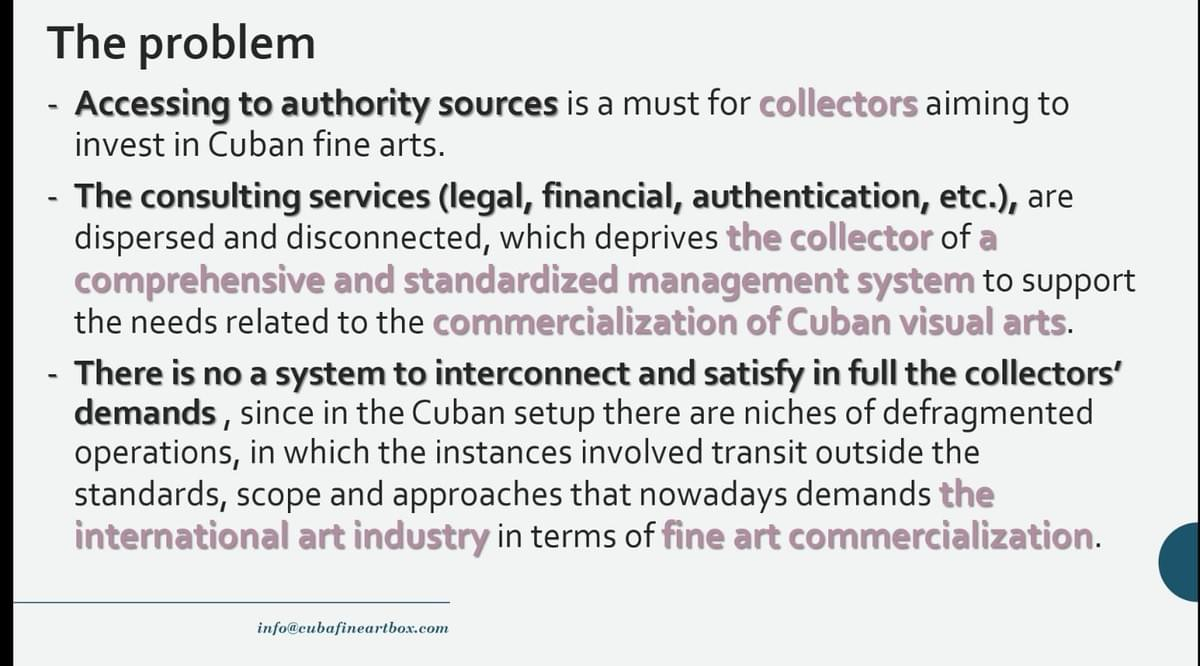 Cuban visual arts on the rise: consulting services (legal, financial, authentication, etc.).