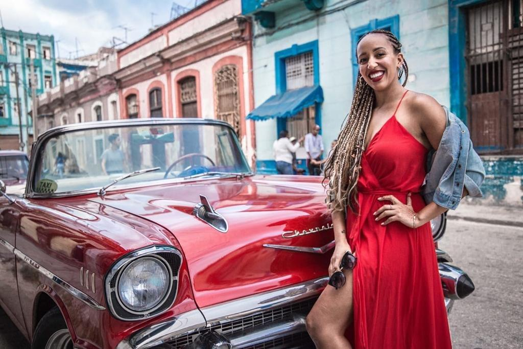 A red vintage photo is a Havana icon.