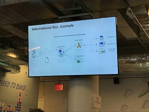 fourTheorem attends AI day at the AWS Loft NYC - Informational Bot Example; Amazon Lex and Polly