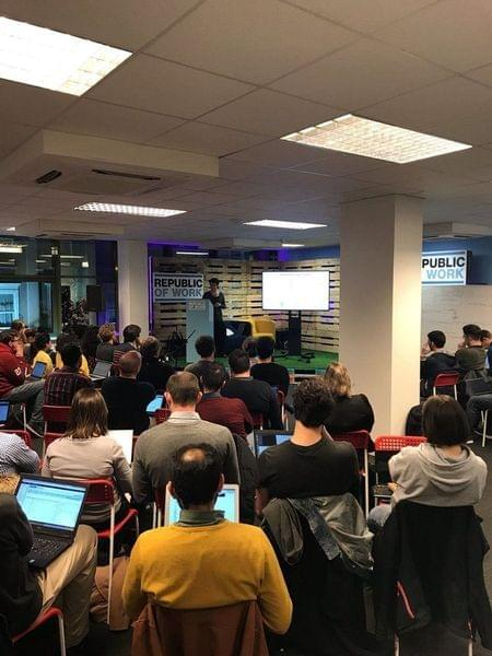 Cork AI Meetup 1 - Attendees listening to co-host Keelin Murphy