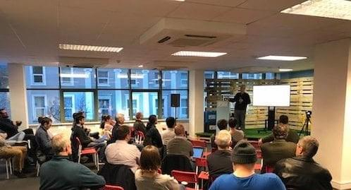 Cork AI Meetup 3 - Attendees listening to Nick Grattan's presentation on Introduction to text analytics