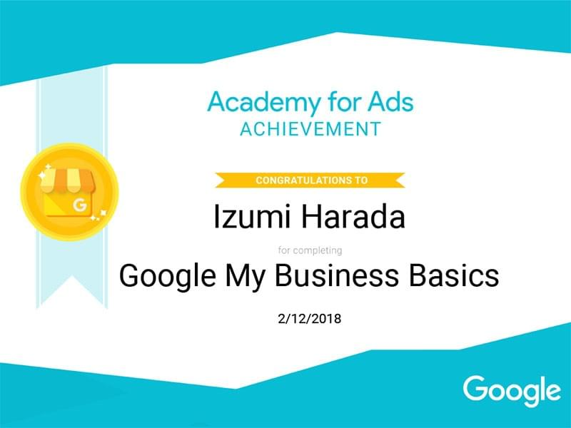 「Google My Business Basics」認定証
