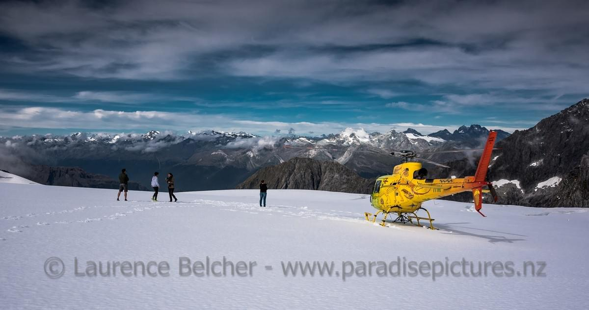 On the glacier with Heli Glenorchy to photograph the mountain scenery during a photo tour