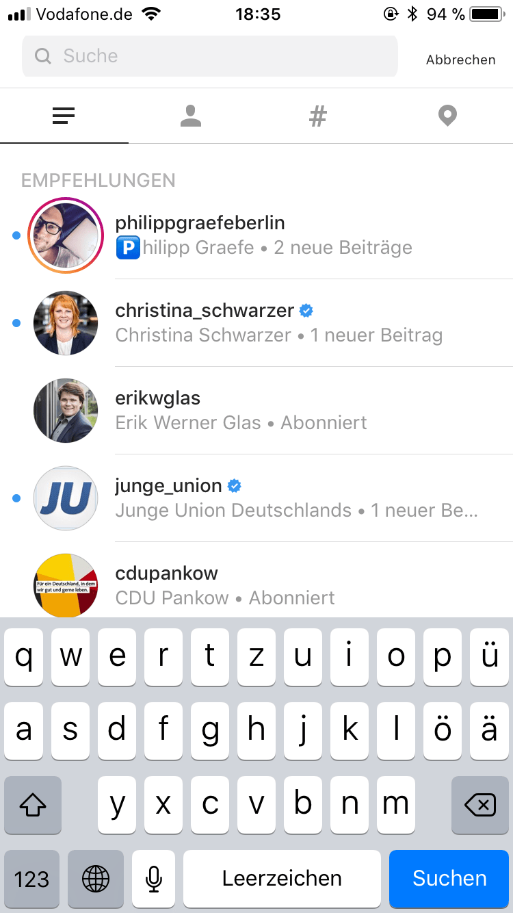 Instagram-Screenshot-Suche