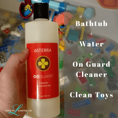 Clean legos without harsh chemicals. Using On Guard cleaner concentrate.