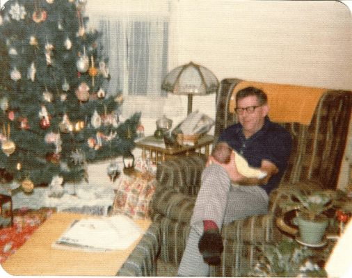 December 24, 1975 - My first Christmas. I was 4 days old with Grandpa