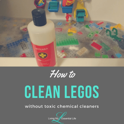 How to clean legos in the bathtub with natural safe cleaner.