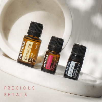 The power of petals is explained in the precious petals promotion of rose jasmine cananga essential oils.