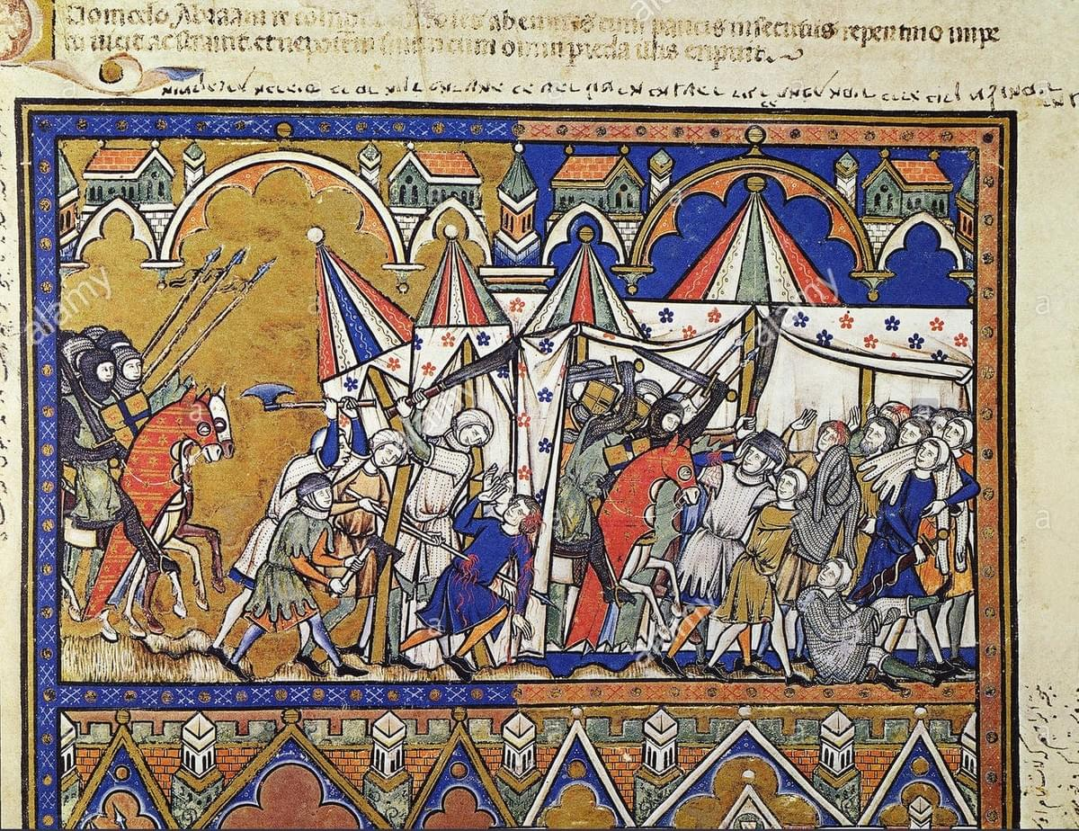 Fig. 1. Abraham Rescues Lot. Abraham and his companions rescue Lot (Genesis 14:14-15). French manuscript illumination, c1250. Granger Historical Picture Archive. Web. 27 September 2019.
