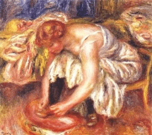 雷諾瓦的《繫鞋帶的女子》(Woman Tying Her Shoe, Pierre Auguste Renoir, 1918)