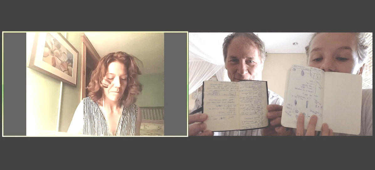 Two people showing their current Beep! Book pages on a zoom call