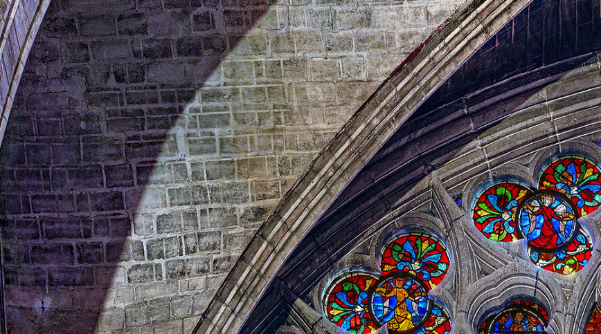 Faux joints d'appareillage au transept sud – photo : Cyril Preiss (technologie Gigascope)
