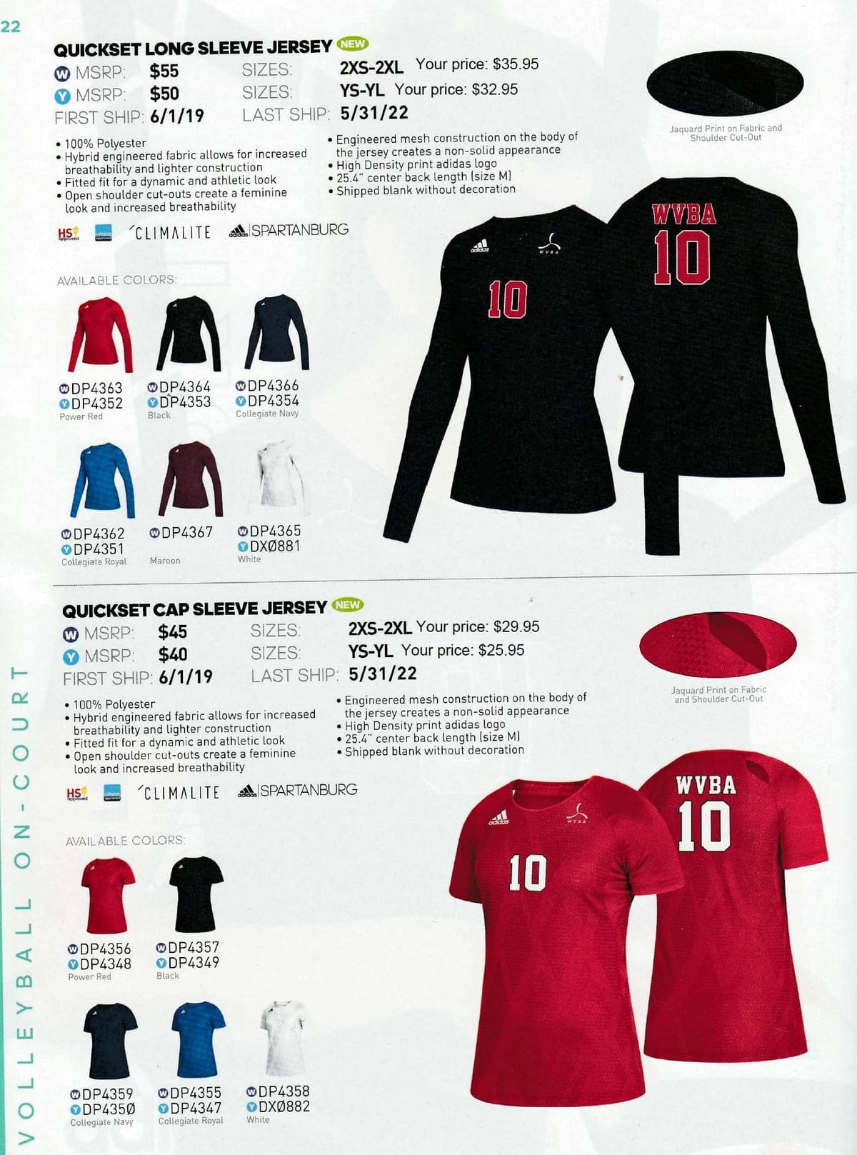 size 40 a1230 09076 adidas volleyball uniforms
