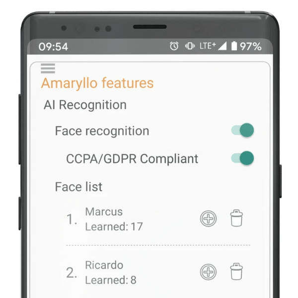 Amaryllo GDPR CCPA data privacy protection face recognition