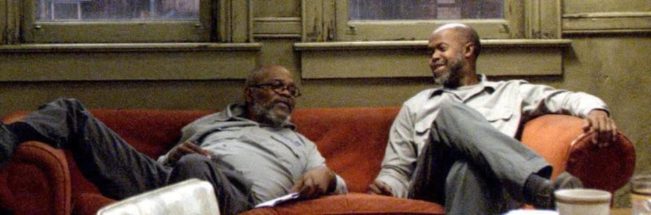 On set of The SUNSET LIMITED, sharing with Samuel L. Jackson
