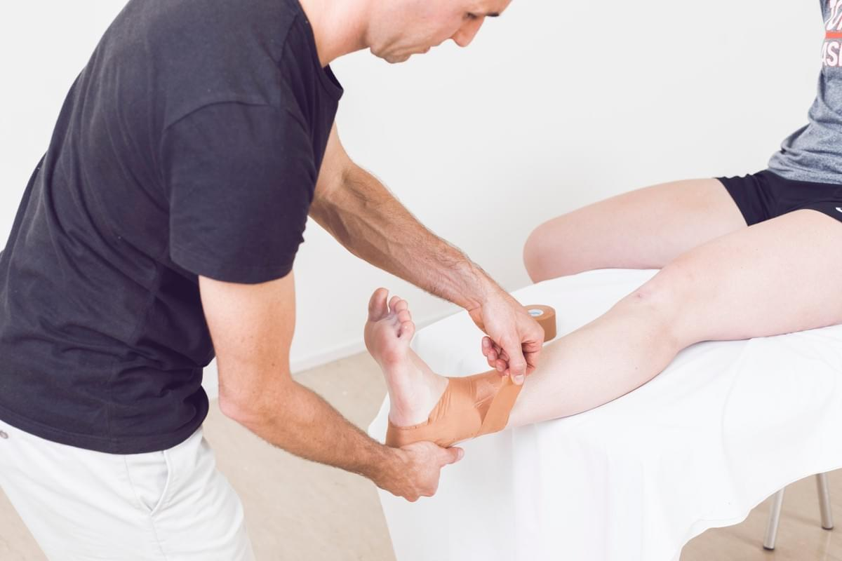 Physiotherapist treatment ankle