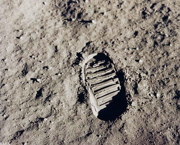 NASA Apollo 11 astronaut Edwin Aldrin photographed this iconic photo, a view of his footprint in the lunar soil, as part of an experiment to study the nature of lunar dust and the effects of pressure on the surface during the historic first manned moon landing in July 1969.
