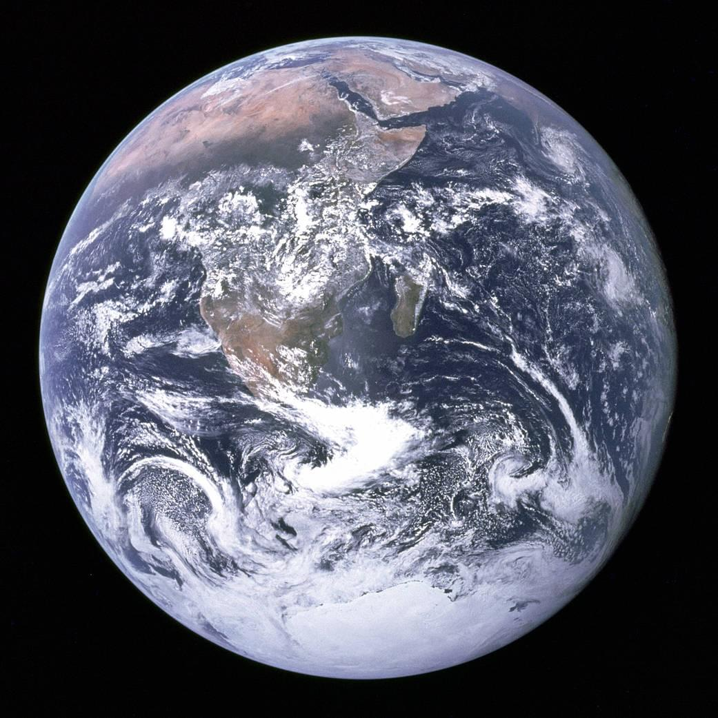 Blue Marble - Image of the Earth from Apollo 17. View of the Earth as seen by the Apollo 17 crew