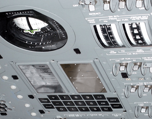 AGC keyboard and display installed in the Apollo control module