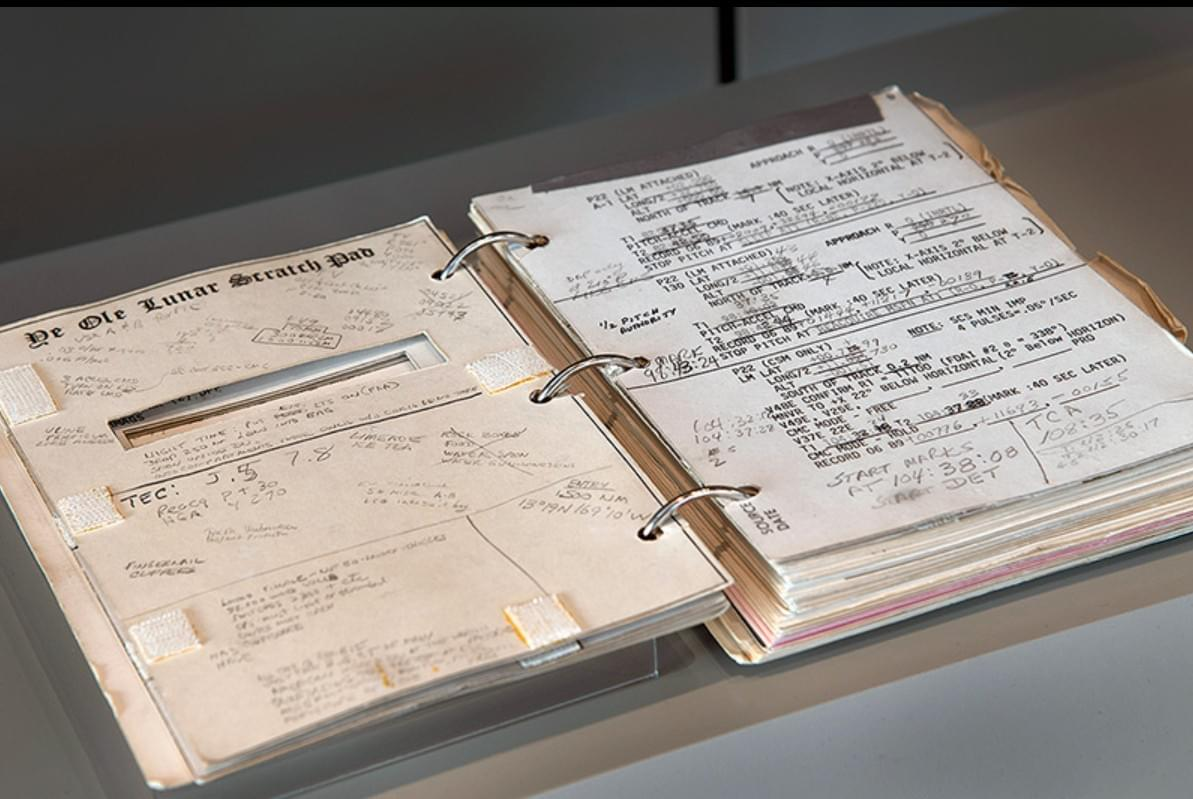 """Ye Ole Lunar Scratch Pad,"" an Apollo 11 checklist used by command module pilot Michael Collins, is on display as part of the National Air and Space Museum's new exhibit, ""50 Years from Tranquility Base: Humanity's First Visit to Another World."" (Smithsonian)"