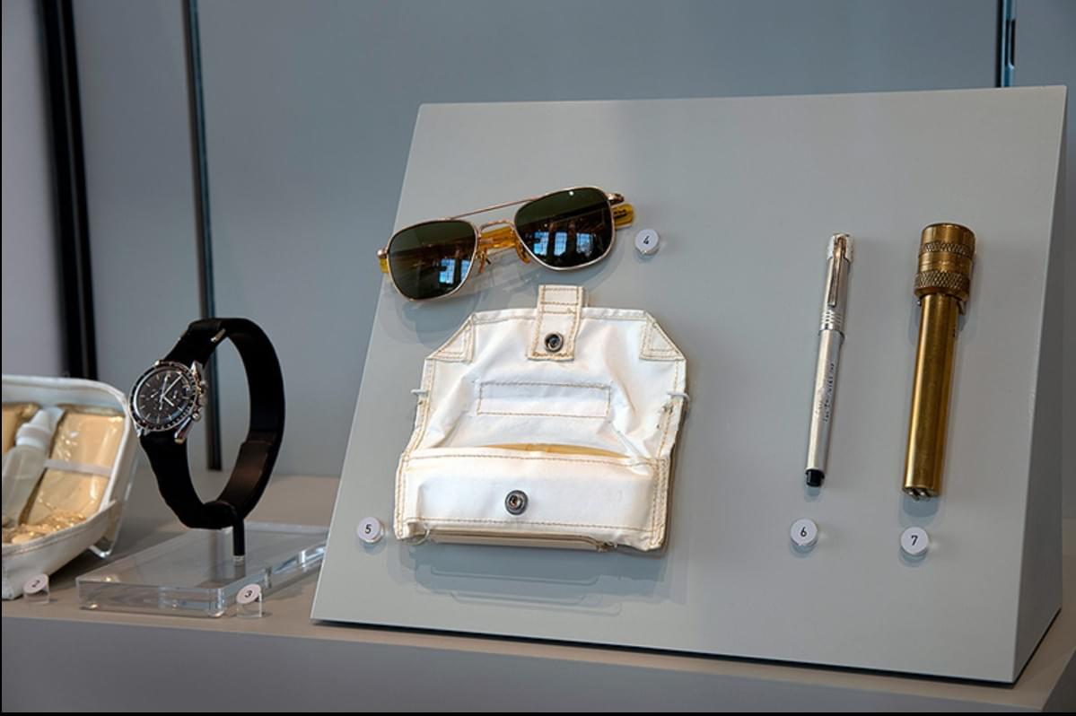 "The ""50 Years from Tranquility Base: Humanity's First Visit to Another World"" exhibit, now on display at the Smithsonian's National Air and Space Museum in Washington, D.C., includes Neil Armstrong's Omega Speedmaster chronograph, Michael Collins' sunglasses (with case) and both a pen and penlight used during the Apollo 11 first moon landing mission in July 1969. (Smithsonian)"