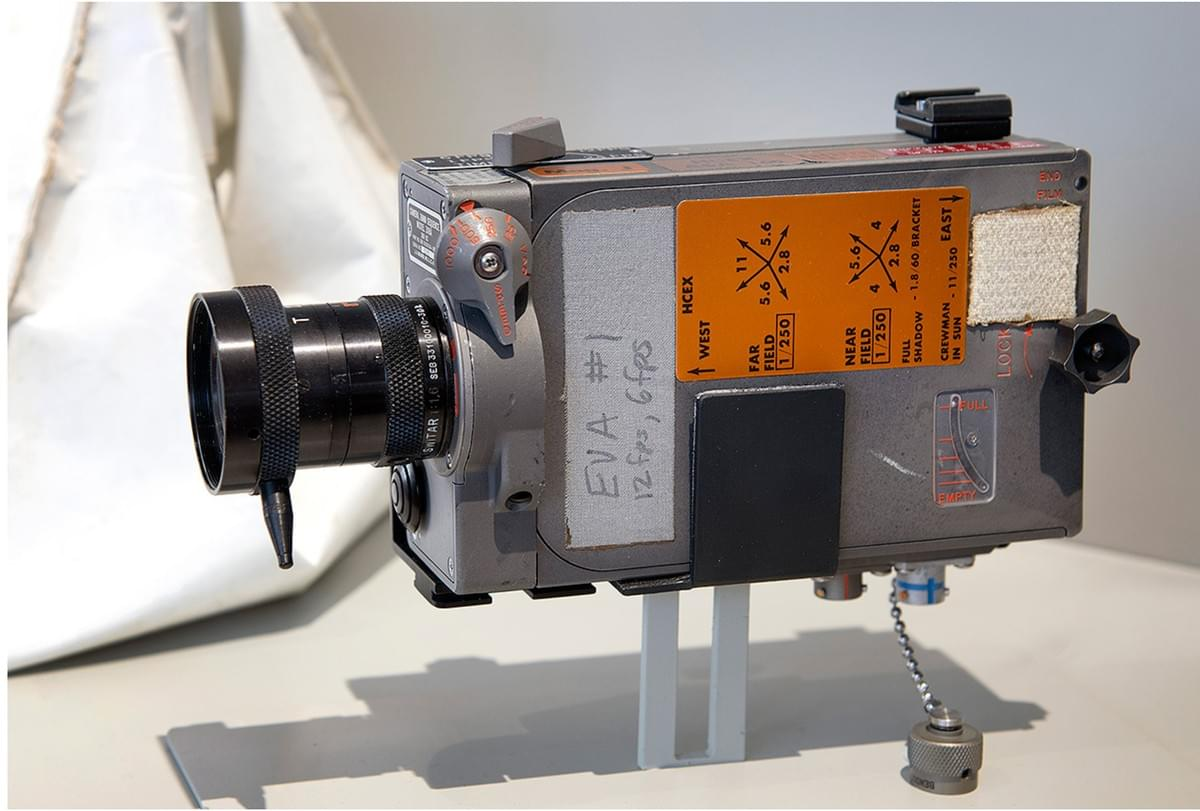 "An Apollo 11 Data Acquisition Camera is reunited with its 16mm film magazine as last used together aboard the lunar module Eagle in the new ""50 Years from Tranquility Base"" exhibit. (Smithsonian)"