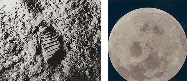 "Left: ""View of Astronaut Footprint in Lunar Soil."" July 1969. Gelatin silver print. The Museum of Modern Art, New York. The New York Times Collection; right: Untitled photograph from the Apollo 11 mission. July 1969. Chromogenic color print. The Museum of Modern Art, New York. Gift of Susan and Peter MacGill"
