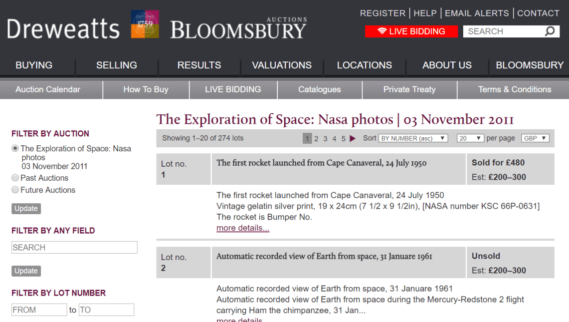 NASA and Space collectibles auctions